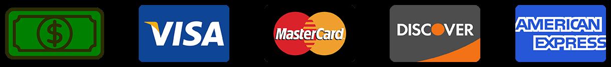 Cash, VISA, MasterCard, Discover, American Express